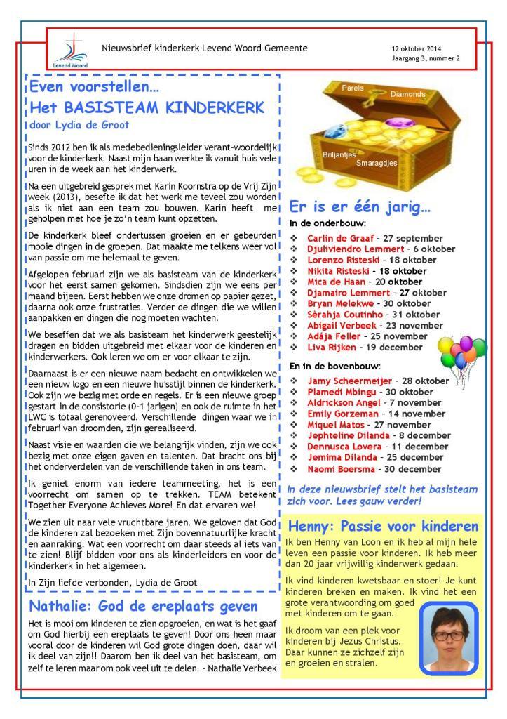 Kinderkerk Nieuwsbrief Oktober 2014