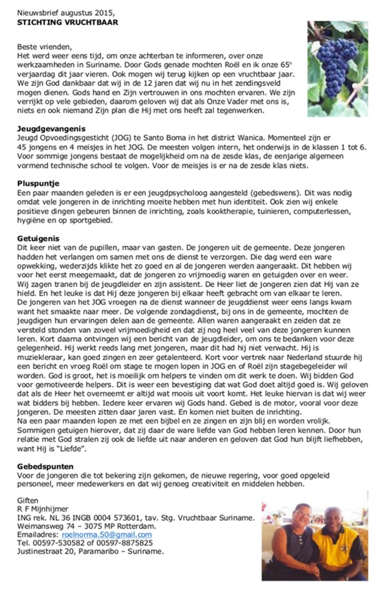 Nieuwsbrief 'Stichting Vruchtbaar' augustus 2015